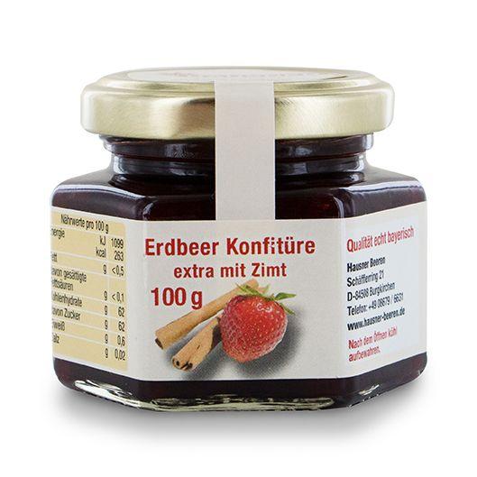 Erdbeer Konfitüre Extra mit Zimt im 100 Gramm Glas