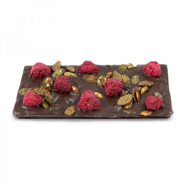 Tafel Schokolade Himbeer Kürbiskern Zartbitter