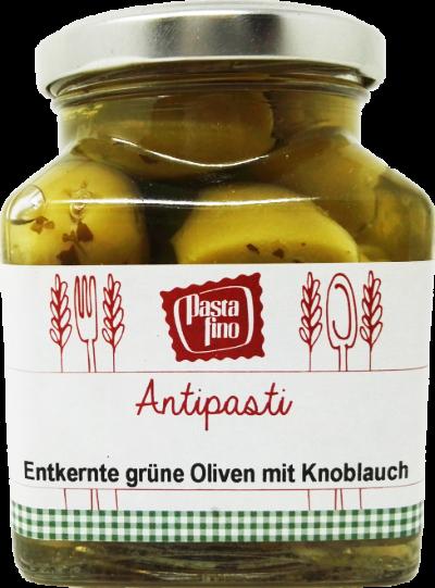 39025_Antipasti-entkernte-grüne-Oliven-mit-Knoblauch_Pasta-Fino_Hofladen-Bayern-de