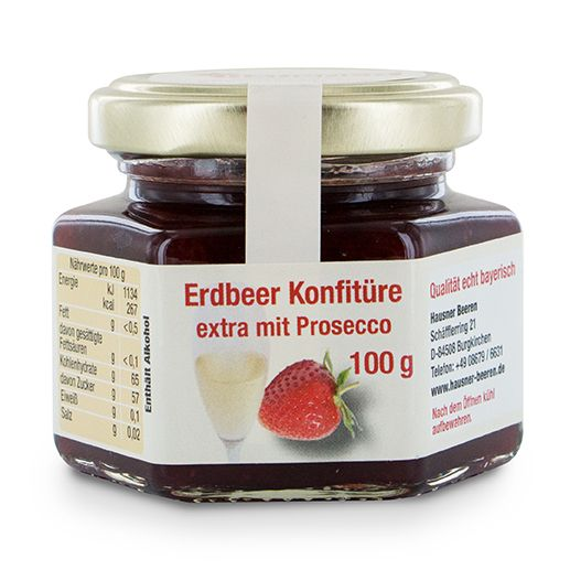 Erdbeer Konfitüre Extra mit Prosecco im 100 Gramm Glas