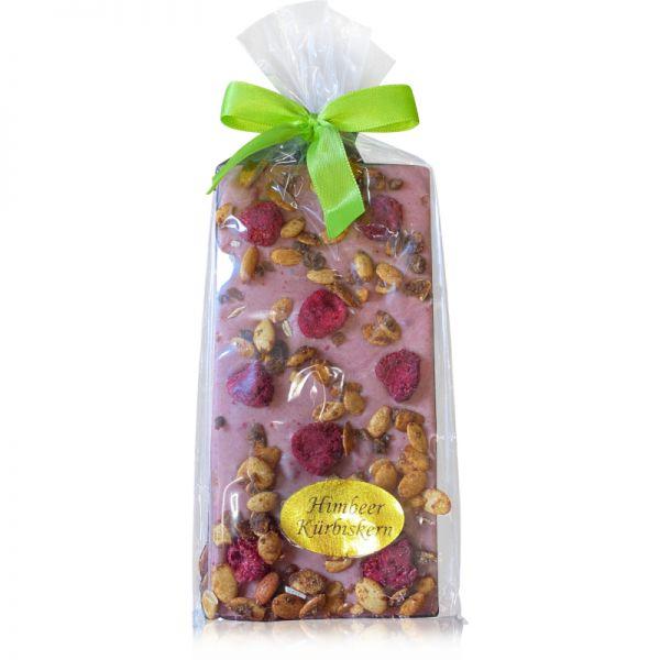 Tafel Schokolade Himbeer Kürbiskern weiße Schokolade