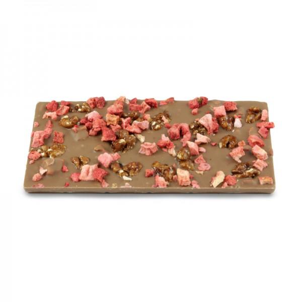 Tafel Erdbeere karamellisierte Walnuss Vollmilchschokolade