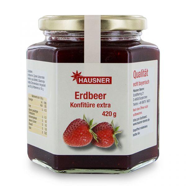 Erdbeer Konfitüre Extra im 420 Gramm Glas