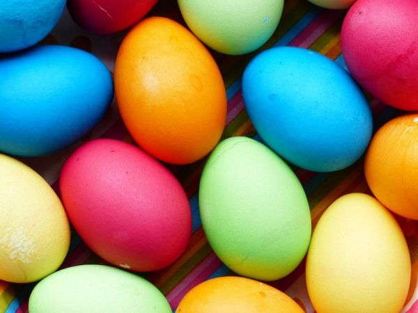 Gekochtes Ei bunt