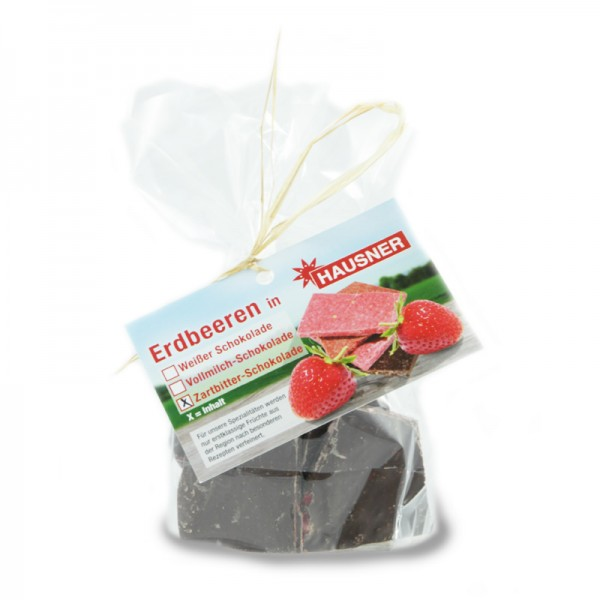 Zartbitterschokolade mit Erdbeeren