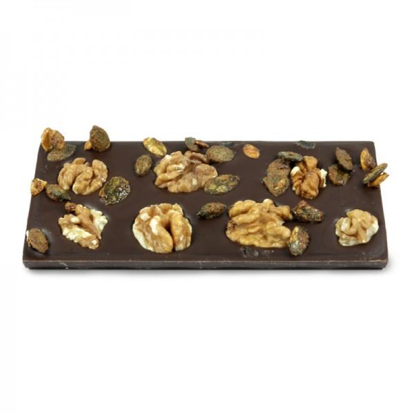Tafel Walnuss Kürbiskern Zartbitterschokolade