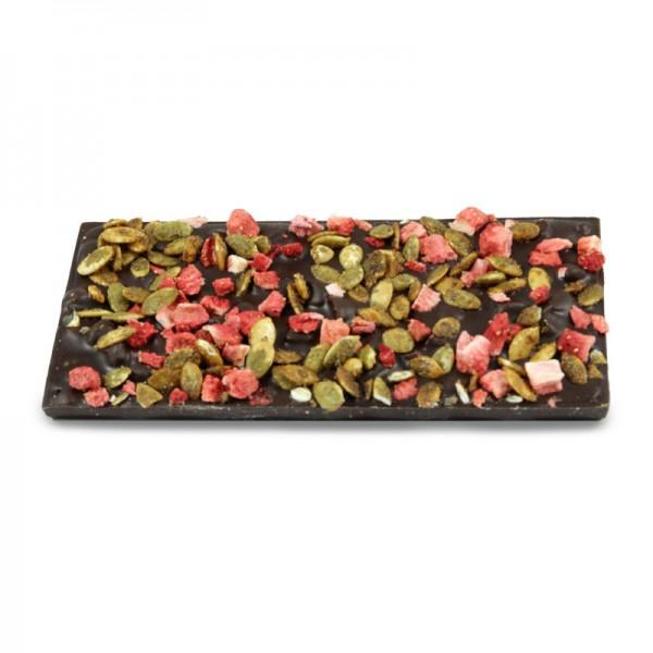 Tafel Erdbeer Kürbiskern Zartbitterschokolade